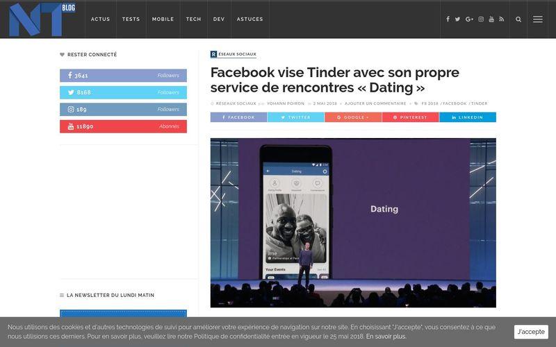 Facebook vise à Tinder avec son propre service de rencontres